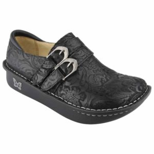 black embossed shoes with dual buckle closure