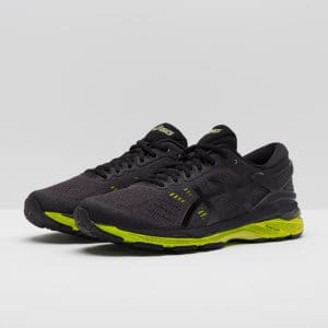 black and yellow running shoes