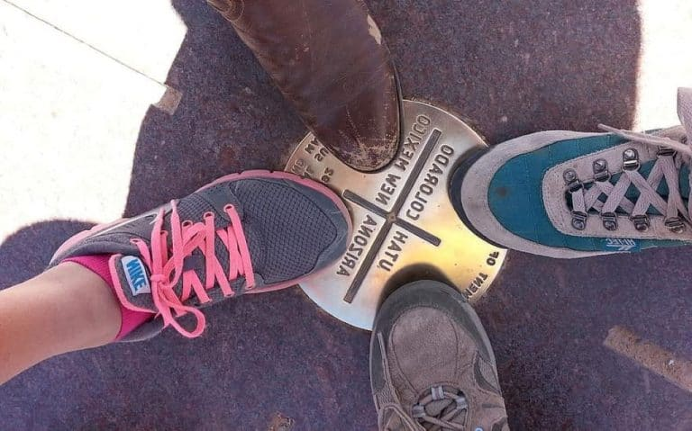 four corners with shoe, boot, sneaker and laces