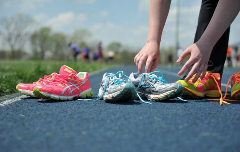 different styles and colors of running shoes