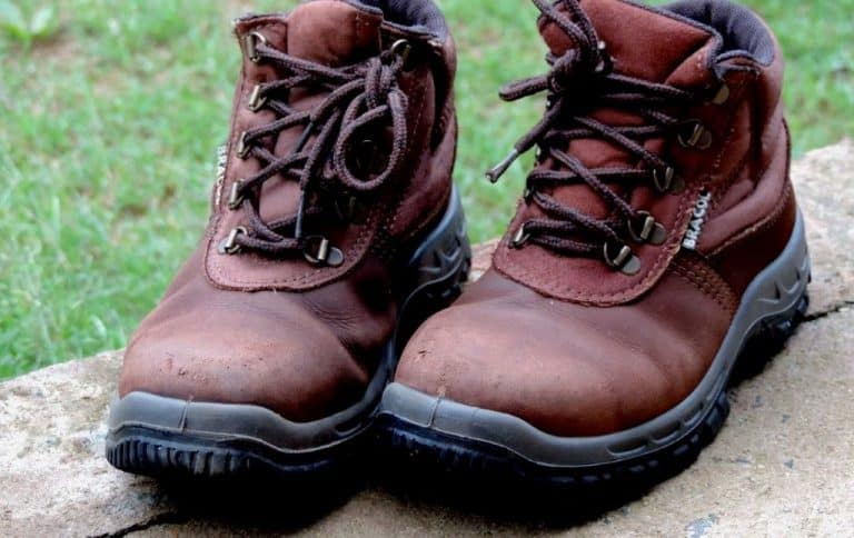 brown second hand rustic work boots